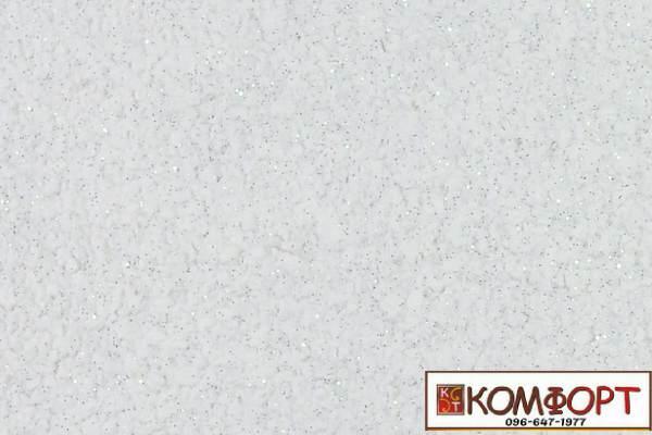 Образец жидких обоев Экобарвы серии Блеск белого цвета с добавлением двух порций серебристого блеска