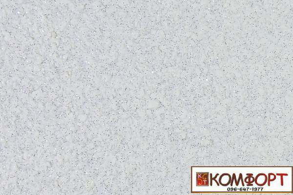 Образец жидких обоев Экобарвы серии Блеск белого цвета с добавлением трех порций серебристого блеска