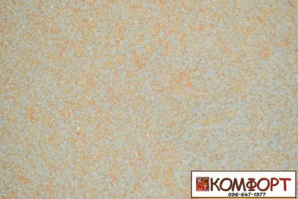 Образец жидких обоев Экобарвы серии Лайт с текстильным волокном светло-персикового цвета