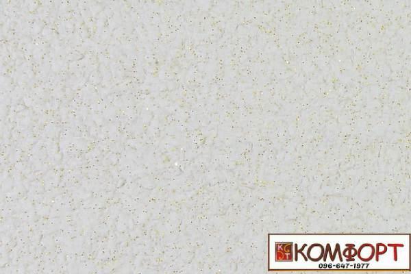 Образец жидких обоев Экобарвы серии Блеск белого цвета с добавлением одной порции золотистого блеска