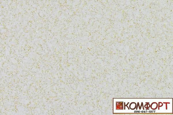 Образец жидких обоев Экобарвы серии Блеск белого цвета с добавлением двух порций золотистого блеска