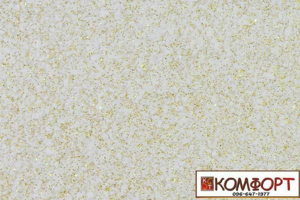 Образец жидких обоев Экобарвы серии Блеск белого цвета с добавлением трех порций золотистого блеска