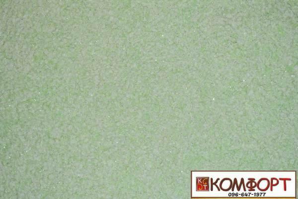 Образец жидких обоев Экобарвы серии Лайт с текстильным волокном светло-зеленого цвета