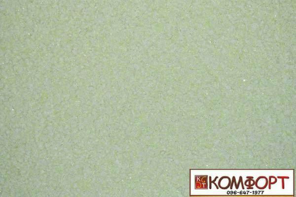 Образец жидких обоев Экобарвы серии Лайт с текстильным волокном светло-салатового цвета