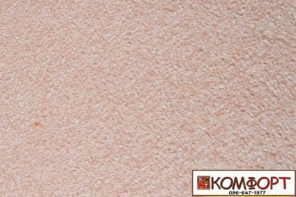 Образец жидких обоев Экобарвы серии Акрил белого цвета с насыщенным добавлением акриловой нити персикового цвета