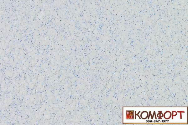 Образец жидких обоев Экобарвы серии Блеск белого цвета с добавлением одной порции синего блеска