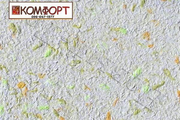 Образец жидких обоев Новый Тон нежно-сиреневого цвета с крупным зеленым, салатовым, темно-желтым вкраплением