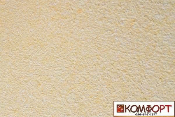 Образец жидких обоев Экобарвы серии Акрил белого цвета с добавлением желтой акриловой нити