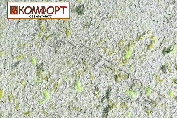 Образец жидких обоев Новый Тон сиреневого цвета с крупным зеленым, салатовым, серым вкраплением