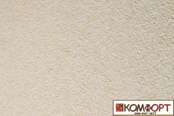 Образец жидких обоев Экобарвы серии Акрил белого цвета с добавлением акриловой нити цвета мокрого песка