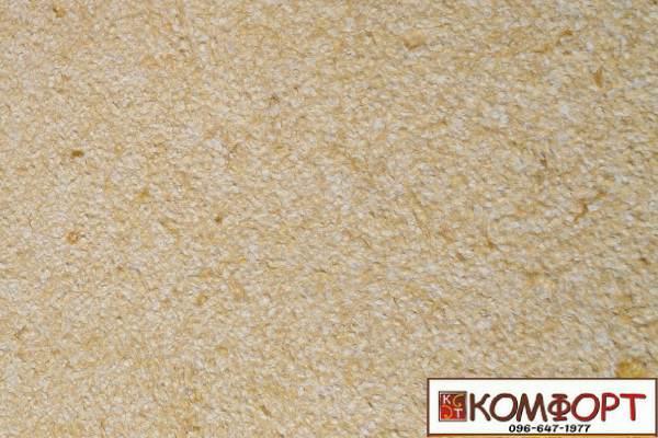 Образец жидких обоев Экобарвы серии Акрил белого цвета с насыщенным добавлением акриловой нити цвета мокрого песка