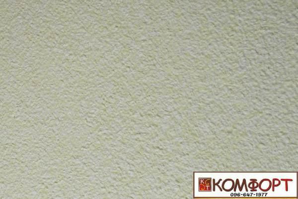 Образец жидких обоев Экобарвы серии Акрил белого цвета с добавлением акриловой нити салатового цвета