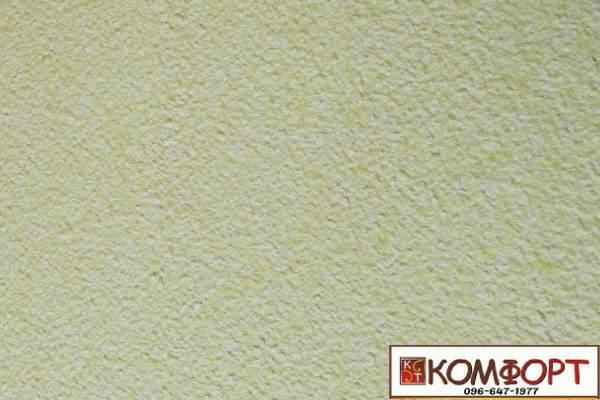 Образец жидких обоев Экобарвы серии Акрил белого цвета с насыщенным добавлением акриловой нити салатового цвета