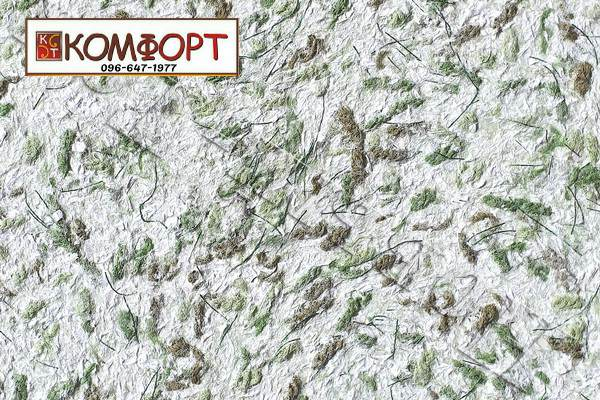 Образец жидких обоев Новый Тон серого цвета с крупным темно-зеленым, коричневым вкраплением