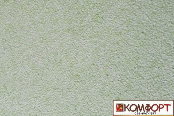 Образец жидких обоев Экобарвы серии Акрил белого цвета с добавлением акриловой нити зеленого цвета