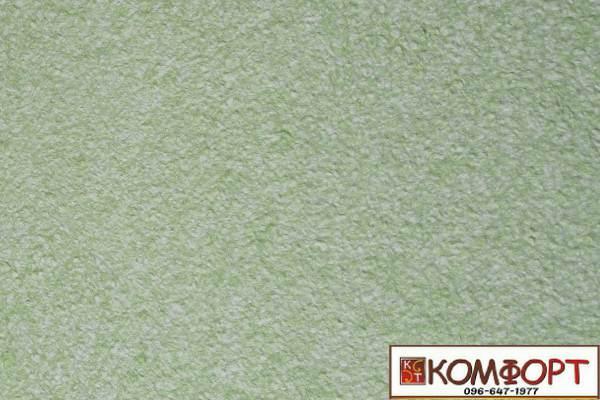 Образец жидких обоев Экобарвы серии Акрил белого цвета с насыщенным добавлением акриловой нити зеленого цвета