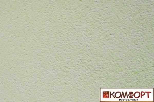 Образец жидких обоев Экобарвы серии Акрил белого цвета с добавлением акриловой нити цвета весенней травы