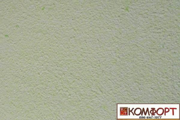 Образец жидких обоев Экобарвы серии Акрил белого цвета с насыщенным добавлением акриловой нити цвета весенней травы