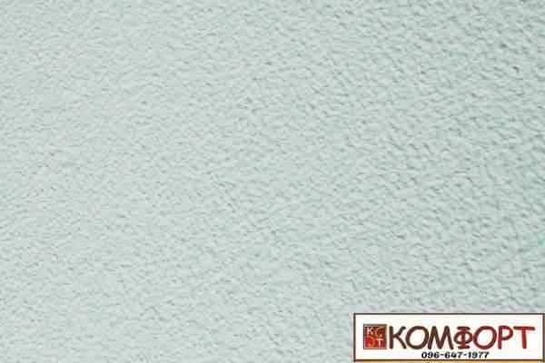 Образец жидких обоев Экобарвы серии Акрил белого цвета с добавлением акриловой нити бирюзового цвета