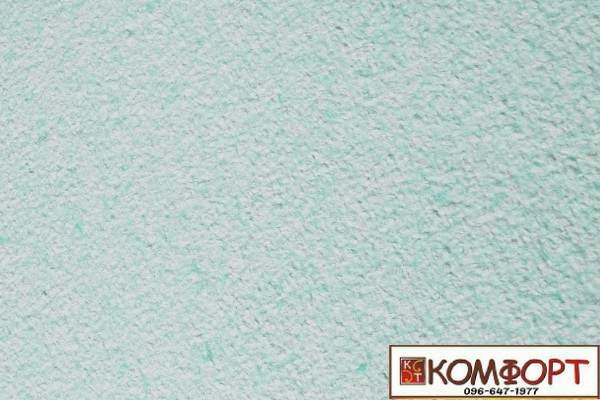 Образец жидких обоев Экобарвы серии Акрил белого цвета с насыщенным добавлением акриловой нити бирюзового цвета