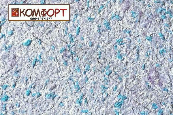 Образец жидких обоев Новый Тон сиренево-голубого цвета с крупным аквамариновым вкраплением