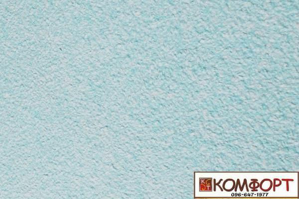 Образец жидких обоев Экобарвы серии Акрил белого цвета с добавлением акриловой нити голубого цвета