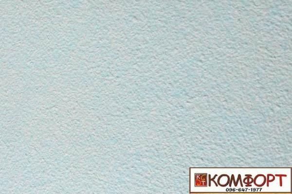 Образец жидких обоев Экобарвы серии Акрил белого цвета с добавлением акриловой нити голубого (небесного) цвета