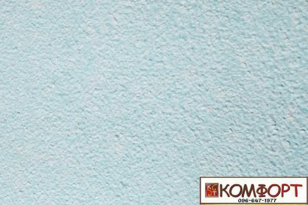 Образец жидких обоев Экобарвы серии Акрил белого цвета с насыщенным добавлением акриловой нити голубого (небесного) цвета