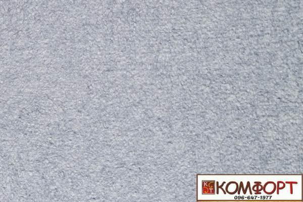 Образец жидких обоев Экобарвы серии Акрил белого цвета с добавлением акриловой нити серо-синего цвета