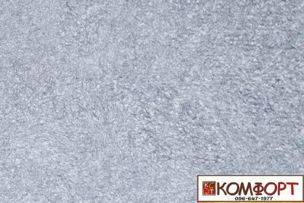 Образец жидких обоев Экобарвы серии Акрил белого цвета с насыщенным добавлением акриловой нити серо-синего цвета