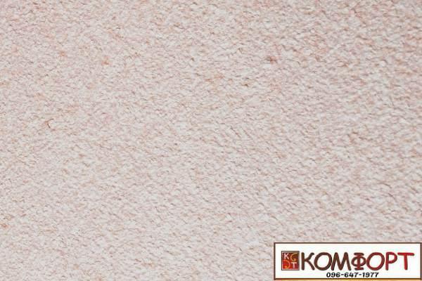 Образец жидких обоев Экобарвы серии Акрил белого цвета с добавлением акриловой нити терракотового цвета