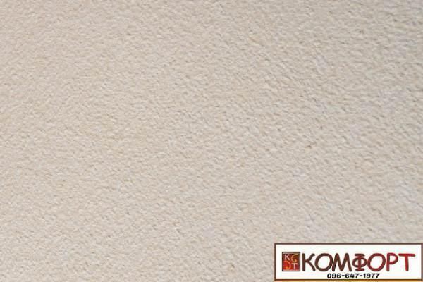 Образец жидких обоев Экобарвы серии Акрил белого цвета с добавлением акриловой нити горчичного цвета