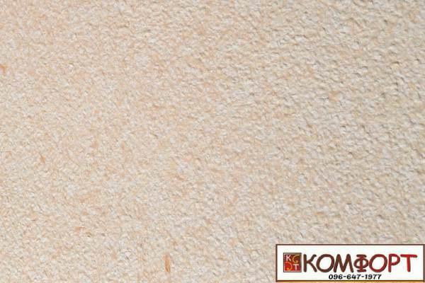 Образец жидких обоев Экобарвы серии Акрил белого цвета с насыщенным добавлением акриловой нити горчичного цвета