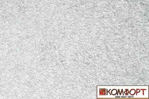 Образец жидких обоев Экобарвы серии Акрил белого цвета с добавлением акриловой нити серого цвета