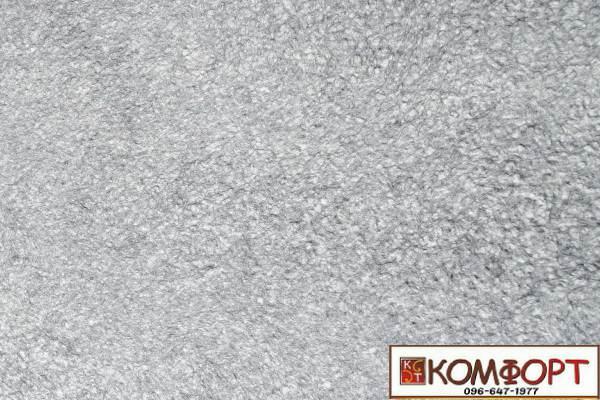 Образец жидких обоев Экобарвы серии Акрил белого цвета с насыщенным добавлением акриловой нити серого цвета