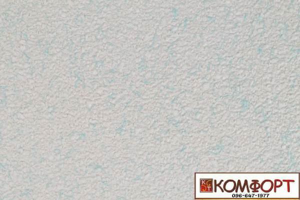 Образец жидких обоев Экобарвы серии Коттон белого цвета с добавлением бирюзовой нити