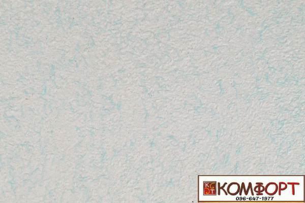 Образец жидких обоев Экобарвы серии Коттон белого цвета с насыщенным добавлением бирюзовой нити
