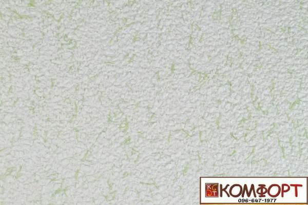 Образец жидких обоев Экобарвы серии Коттон белого цвета с добавлением зеленой нити