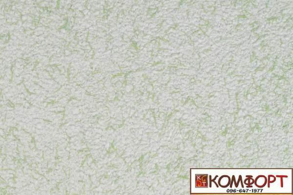 Образец жидких обоев Экобарвы серии Коттон белого цвета с насыщенным добавлением зеленой нити