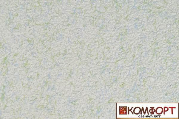 Образец жидких обоев Экобарвы серии Коттон белого цвета с добавлением зеленой и голубой нити