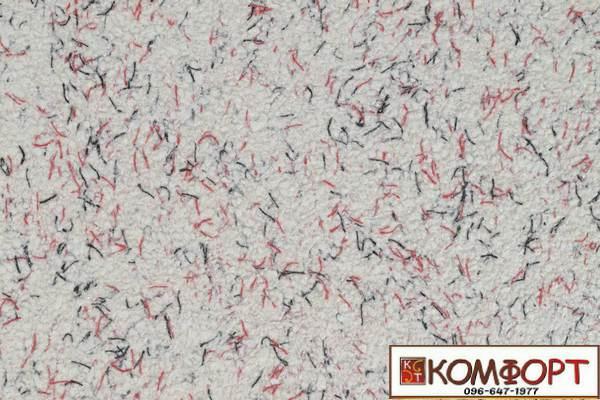 Образец жидких обоев Экобарвы серии Коттон белого цвета с добавлением черной и красной нити