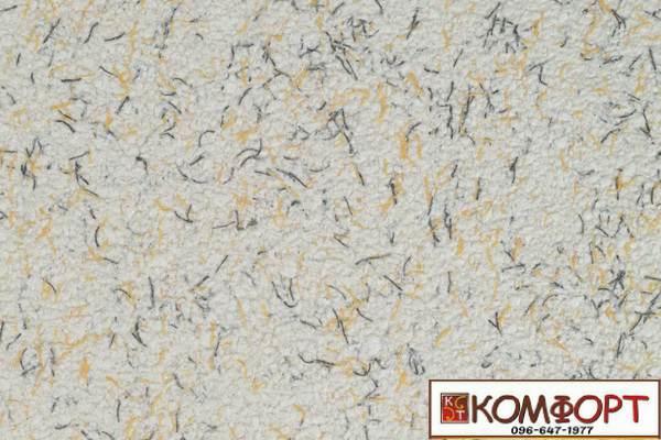 Образец жидких обоев Экобарвы серии Коттон белого цвета с добавлением серой и желтой нити