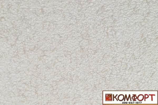 Образец жидких обоев Экобарвы серии Коттон белого цвета с насыщенным добавлением темно-бежевой нити