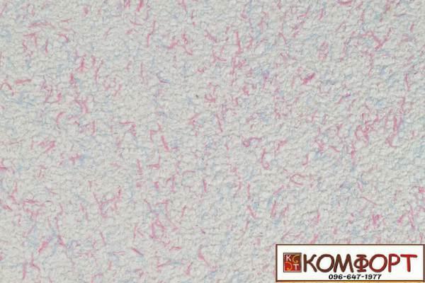 Образец жидких обоев Экобарвы серии Коттон белого цвета с добавлением голубой и нежно-розовой нити