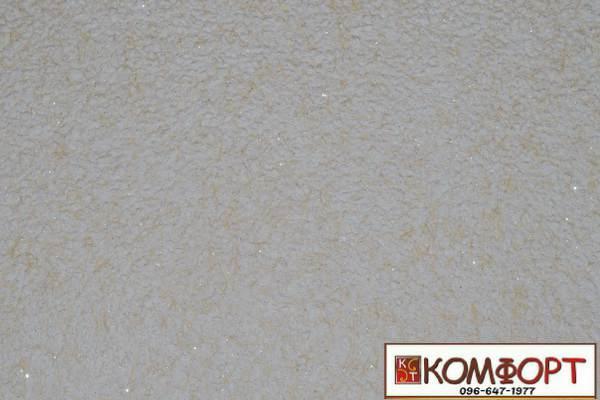 Образец жидких обоев Экобарвы серии Лайт с текстильным волокном желтого (мокрый песок) цвета