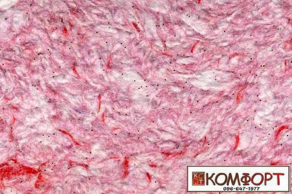 Образец жидких обоев Стиль белого цвета с добавлением окрашенного волокна в розовый, красный, цвет