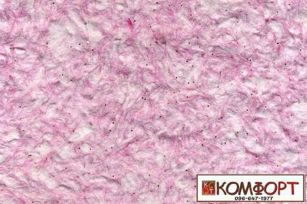 Образец жидких обоев Стиль белого цвета с добавлением окрашенного волокна в розовый цвет