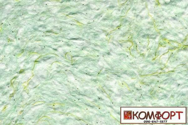 Образец жидких обоев Стиль белого цвета с добавлением окрашенного волокна в зеленый цвет