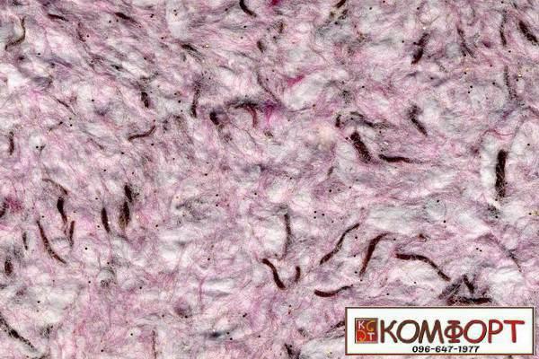 Образец жидких обоев Стиль белого цвета с добавлением окрашенного волокна в коричневый, розовый цвет
