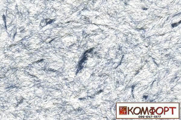 Образец жидких обоев Стиль белого цвета с добавлением окрашенного волокна в темно-синий цвет